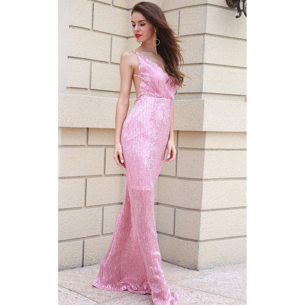 Pink Sequin Open Back Gown