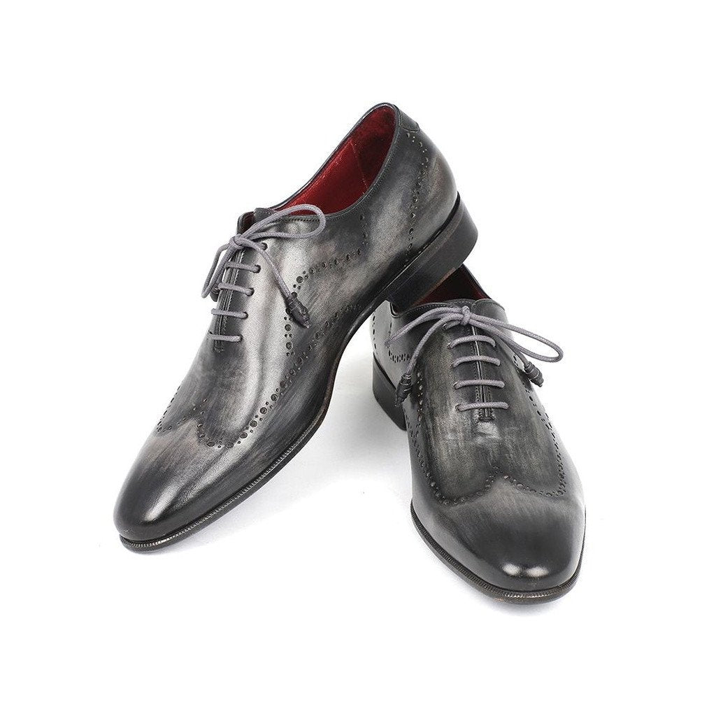 Paul Parkman Wintip Oxfords Gray & Black Handpainted Calfskin (ID#741-GRY) - Sorta Stuff