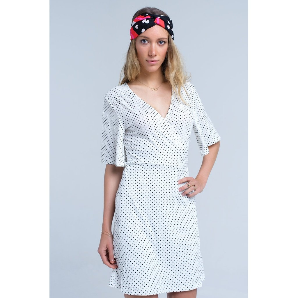 White wrap front polka dot midi dress - Sorta Stuff