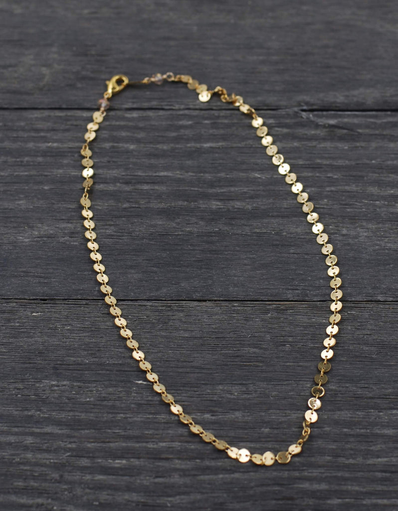 Short Disc Chain Layering Necklace