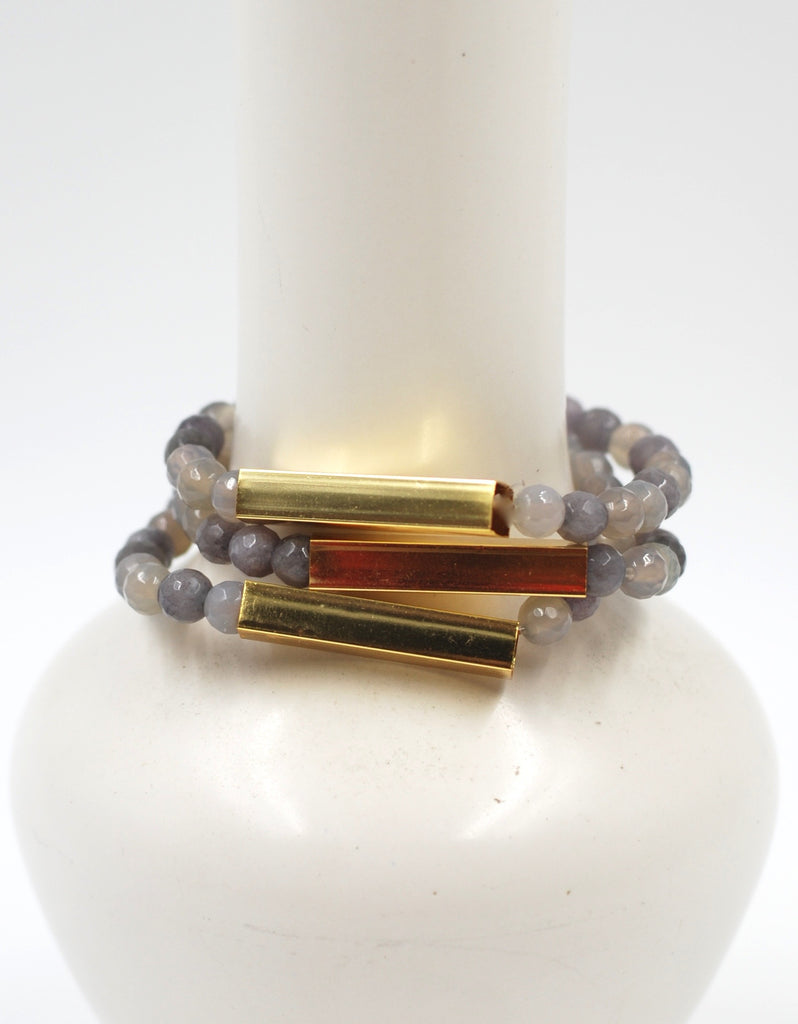 Golden Bar Bracelet | Gray Agate