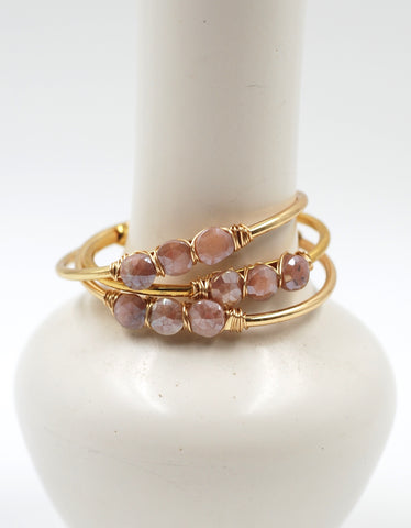 Beaded Cuff | Mystic Peach Moonstone