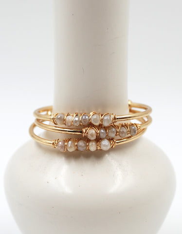 Beaded Cuff | Peach Moonstone