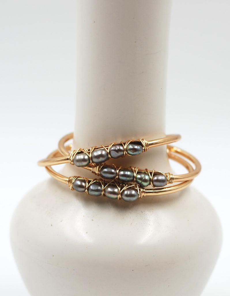 Beaded Cuff | Silver Pearl