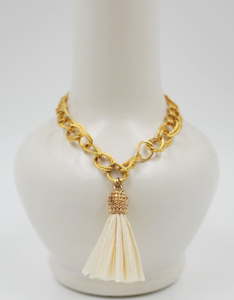 Golden Chain Tassel Bracelet | Raffia Cream