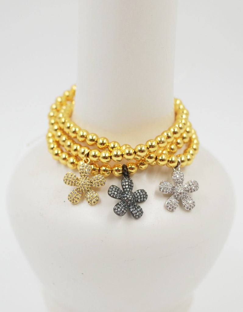 Gold Beaded Bracelet | Paved Flower