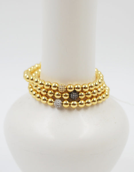 Gold Beaded Bracelet | CZ Bead Small