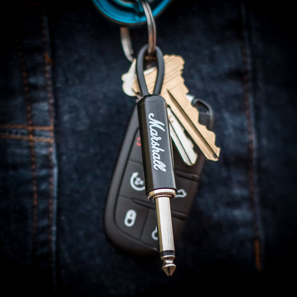 Black Marshall guitar plug keychain