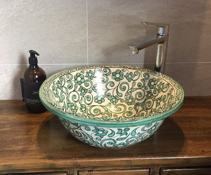 Moroccan hand-painted vessel basins
