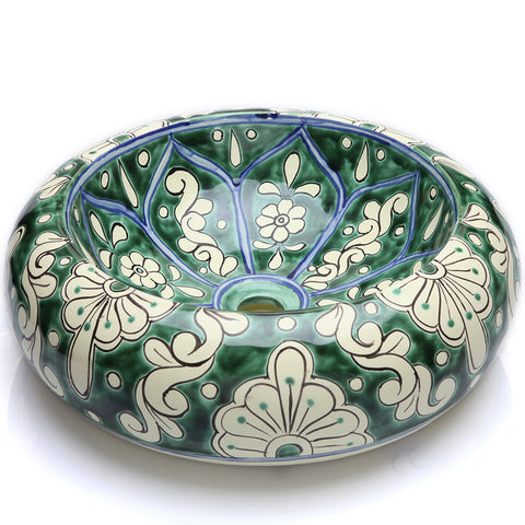Mexican Baila Round Vessel Hand-painted Bathroom Basin