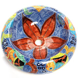 Mexican Delmar Round Vessel Hand-painted Bathroom Basin