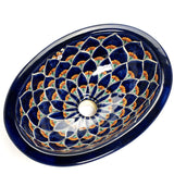 Mexican Destina Small Oval Drop-In Hand-painted Bathroom Basin