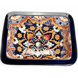 Mexican Dina Rectangular Drop-In Hand-painted Bathroom Basin