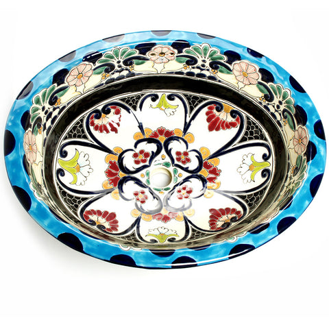 Mexican La Reina Large Drop-In Hand-painted Bathroom Basin
