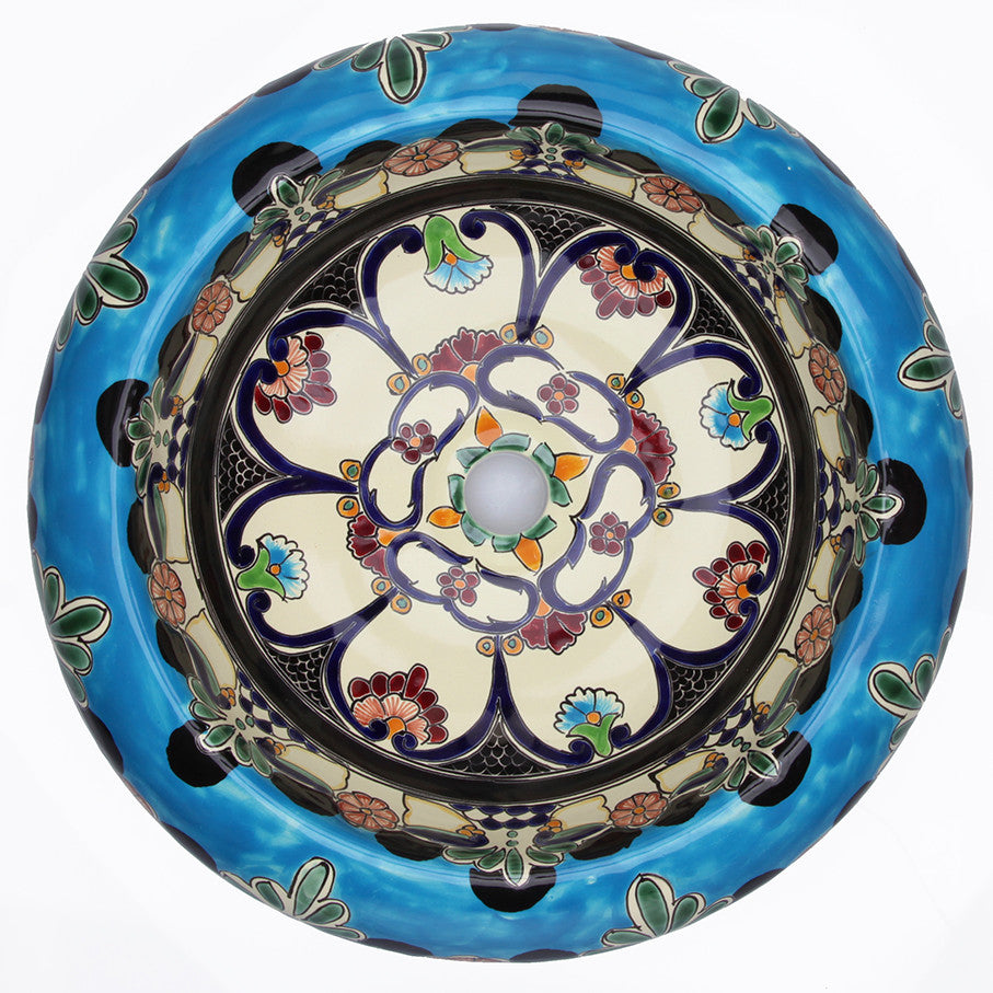 Mexican La Reina Round Vessel Hand painted Bathroom Basin Unique