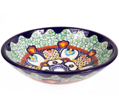 Mexican Juanetta Vessel Hand-painted Bathroom Basin