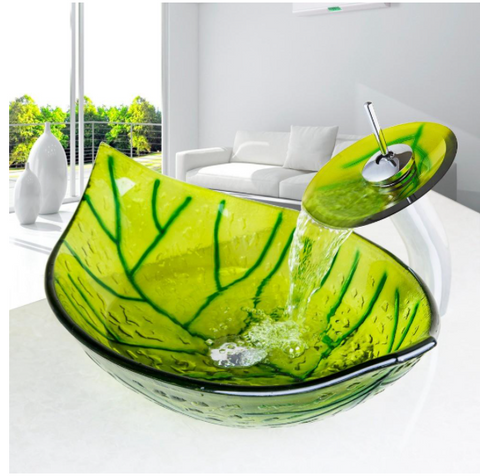 Glass Green Leaf Shape Bathroom Sink With Mixer and Pop-Up Drain