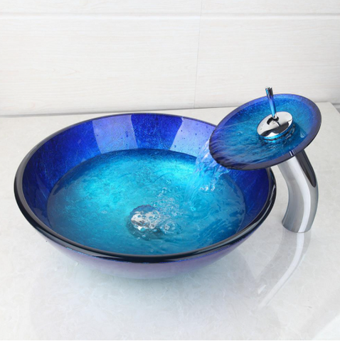 Glass blue vessel basin with faucet and pop-up plug