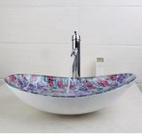 Floral design oval glass bathroom basin