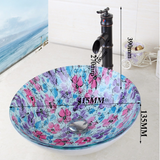 Floral glass round glass bathroom vessel basin & tap
