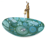 Green Stone-design Oval Glass Washroom Basin