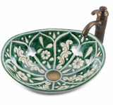 Mexican Baila Curved Vessel Hand-painted Bathroom Basin