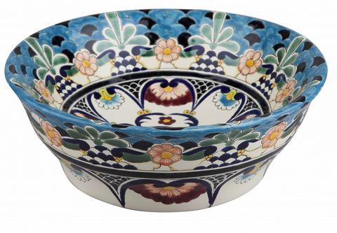 Mexican La Reina Tall Vessel Hand-painted Bathroom Basin