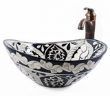 Mexican Atalaya Curved Vessel Hand-painted Bathroom Basin