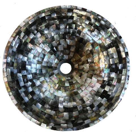 Dark Mother of pearl vessel basin  BATHROOM SINK