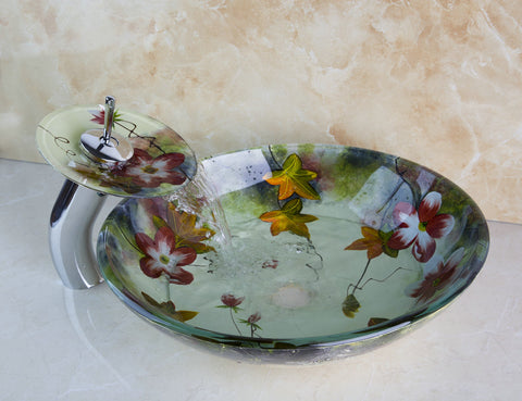 Glass Sink FLORAL AQUA