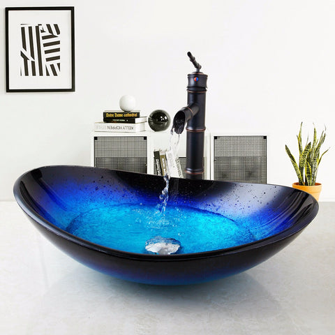 Oval Tempered Glass Cobalt Bathroom Sink with Tap