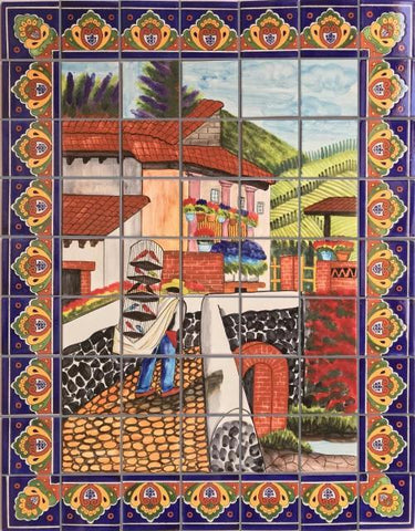 Tile Mural Bird Seller. Clay Talavera Tile Mural