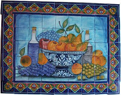 Tile Mural Fruit Bowl Bodegon. Clay Talavera Tile Mural
