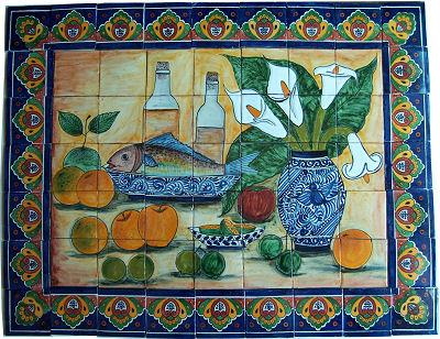 Tile Mural Fish Bodegon. Clay Talavera Tile Mural