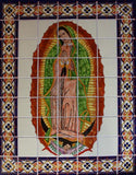Tile Mural Our Lady Virgen De Guadalupe. Clay Talavera Tile Mural