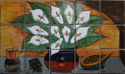 Tile Mural Calla Lilies And Cinammon. Clay Talavera Tile Mural