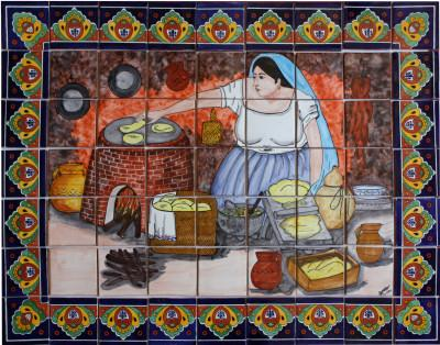 Tile Mural Tortilla Maker. Clay Talavera Tile Mural