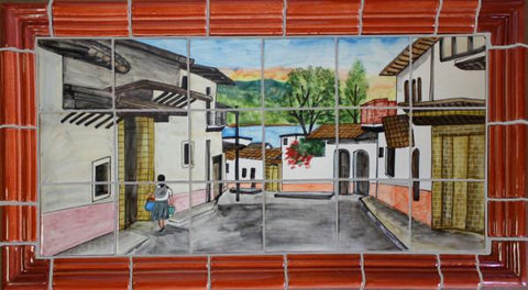 Tile Mural Little Town. Clay Talavera Tile Mural