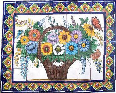 Tile Mural Basket Of Flowers. Clay Talavera Tile Mural