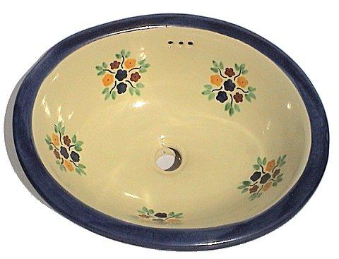 Mexican Blue Bouquet Ceramic Talavera Sink - Drop-in Basin