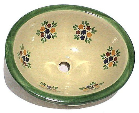 Mexican Green Bouquet Ceramic Talavera Sink - Drop-in Basin