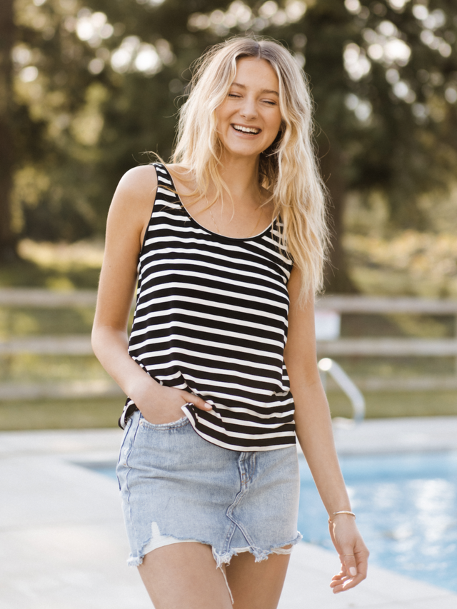 Everyday Tank - Black + White Stripe