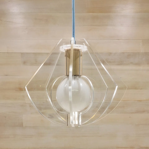 Plexi-glass & raw timber light pendant with pastel blue cable