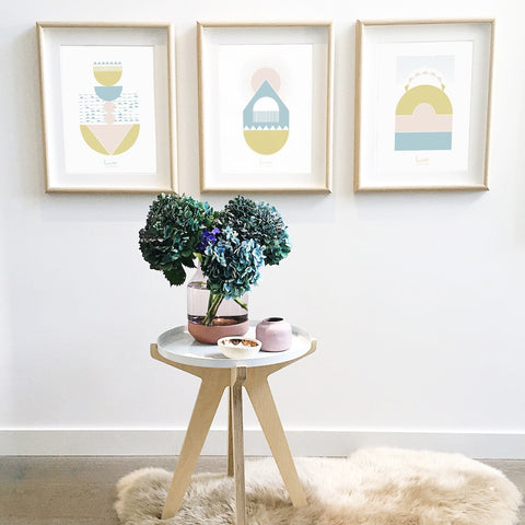 Limited edition screen print, pastels, brass, side table