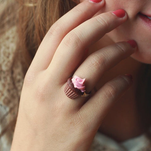 Scented Strawberry Chocolate Cupcake Ring - Tiny Hands  - 2