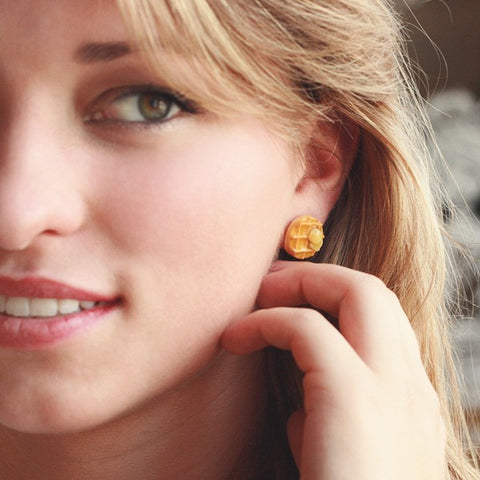 Scented Maple Syrup Waffle Earstuds - Tiny Hands  - 2