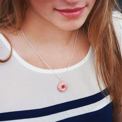 Scented Strawberry Sprinkles Donut Necklace - Tiny Hands  - 2