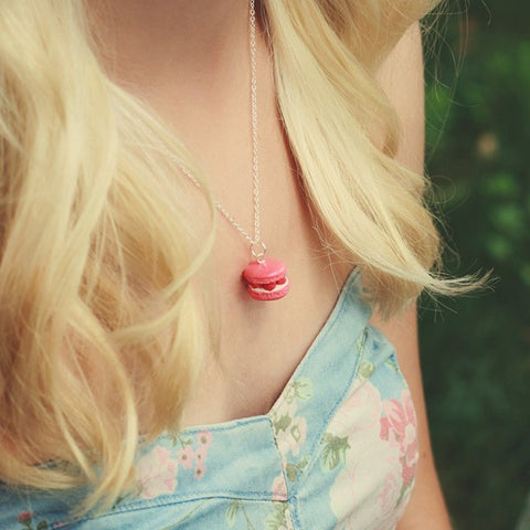 Scented Raspberry French Macaron Necklace - Tiny Hands  - 2