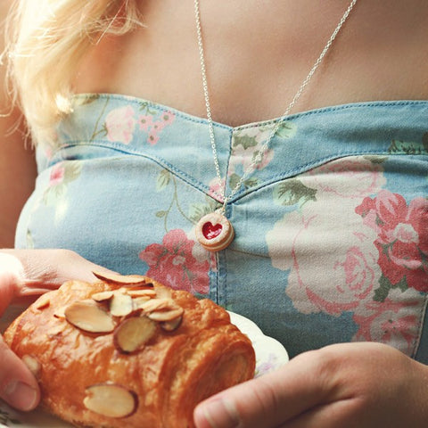 Scented Shortcake Heart Cookie Necklace - Tiny Hands  - 2