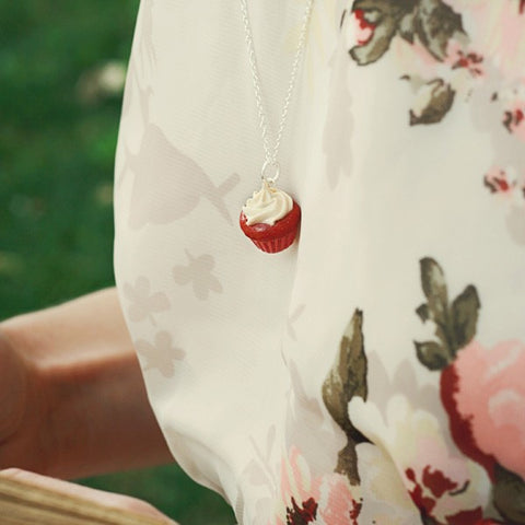 Scented Red Velvet Cupcake Necklace - Tiny Hands  - 2